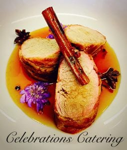Bacon Wrapped Pork Tenderloin with Apple Jus- Catering Frederick MD