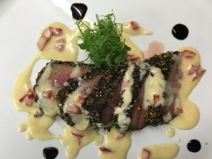 Coffee Encrusted Beef with Roasted Sweet Corn Veloute
