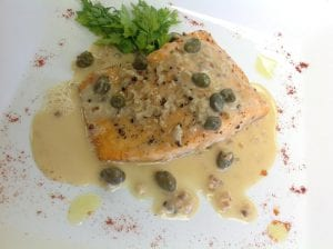Salmon with Lemon Caper Beurre Blanc
